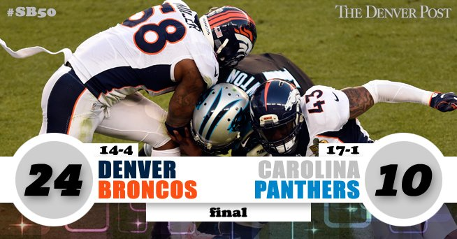 #SB50 FINAL #Broncos 24, #Panthers 10  PHOTOS: https://t.co/RUJ3KwbFjV https://t.co/rgZGHsCkvp