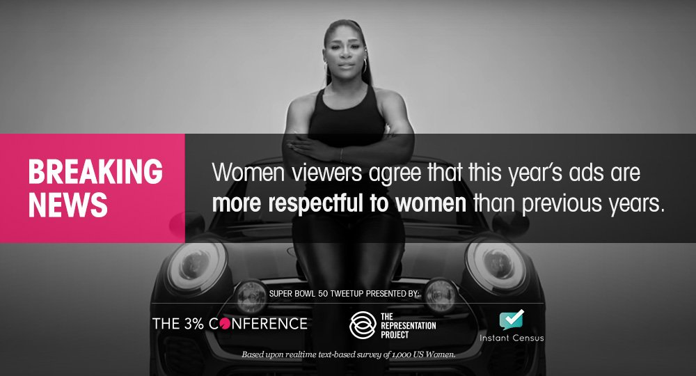 RT @RepresentPledge: Breaking: you made your voice heard and advertisers listened #NotBuyingIt #MediaWeLike #SB50 #SuperBowl #3percentSB ht…