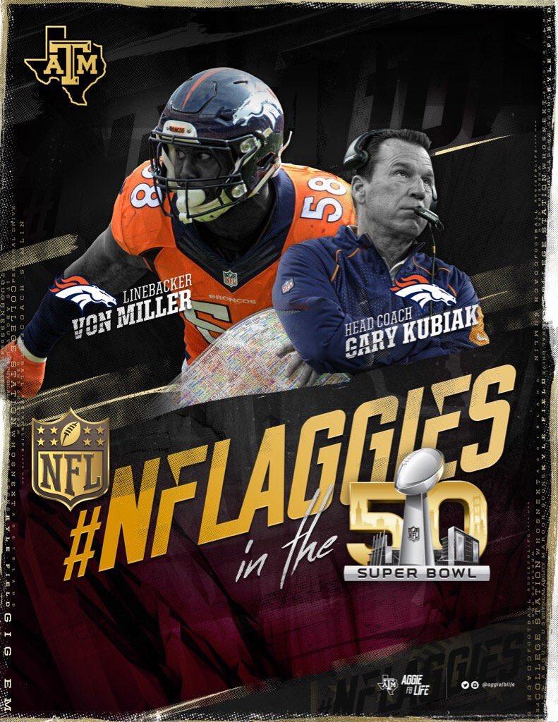 Congrats to @Millerlite40, 1st Aggie Super Bowl MVP, & Gary Kubiak, 1st Aggie Head Coach to win Super Bowl #12thMan https://t.co/kJwqW1yuWZ