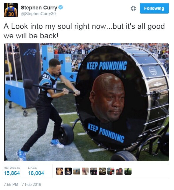 Warriors star StephCurry posts on social media after his beloved Panthers lost SB50