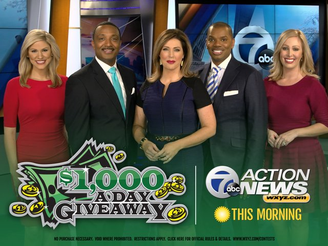 First winner of 7 Action News $1,000-A-Day Giveaway to be announced soon. Watch & enter