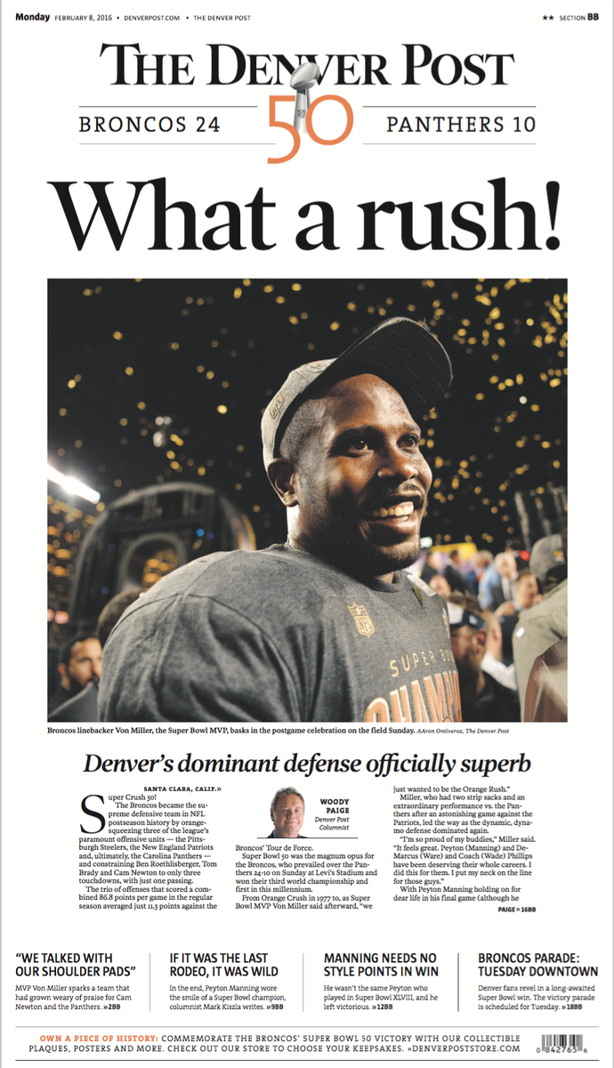 The front page of today's @denverpost. More here