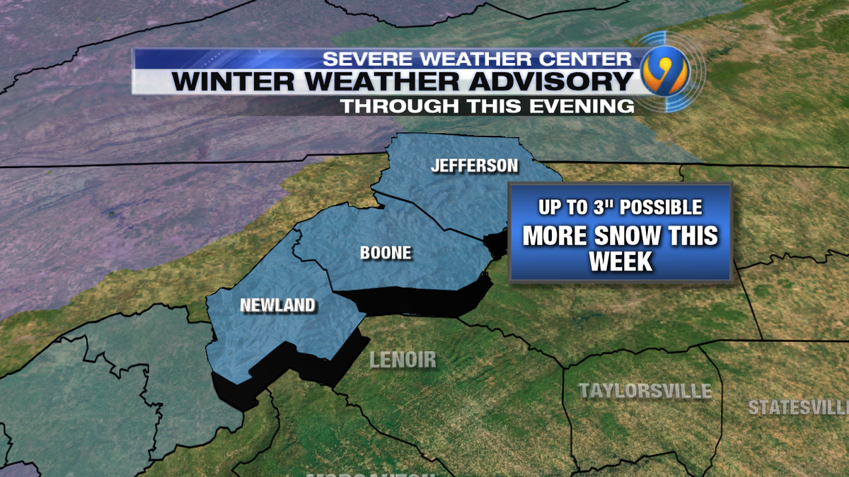 Winter Weather Advisory through this evening in the mtns. Up to 3