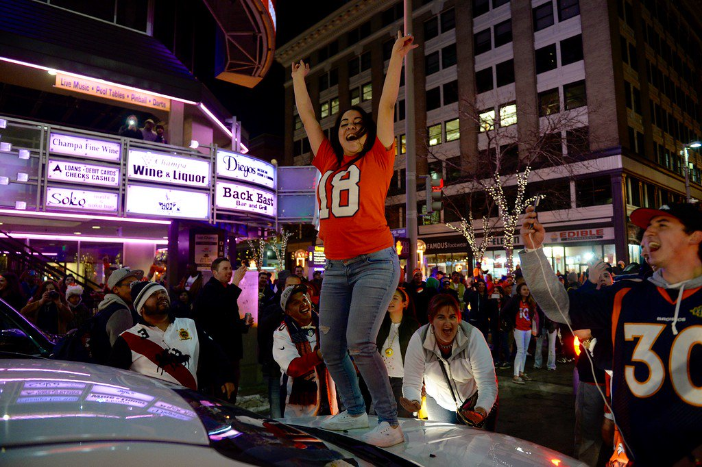 Here's what the scene looked like in Denver last night after the Broncos' SB50 victory