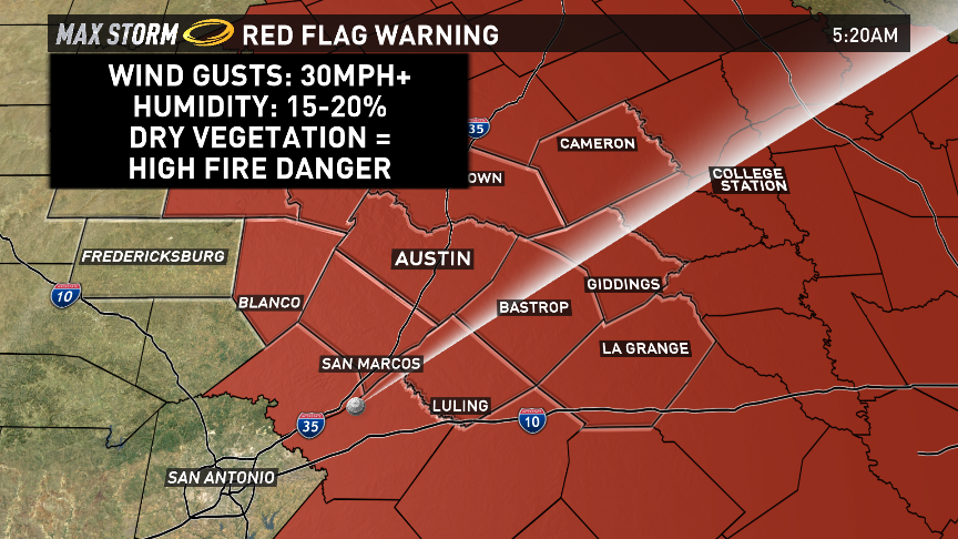 High fire danger today! A Red Flag Warning will be in effect from 10am to 5pm: atxwx