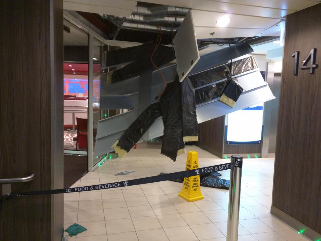Damage on the Anthem of the Seas. *Credit @Flatgreg