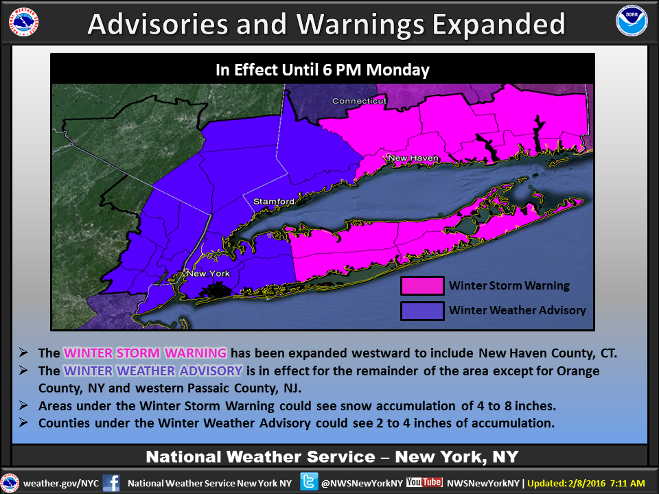 Winter Storm Warnings & Winter Weather Advisories have expanded west. Expect 4-8