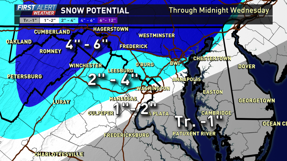 Slight adjustments. I increased the totals a wee bit. Big factor is temperatures Tue for areas south of DC. @wusa9