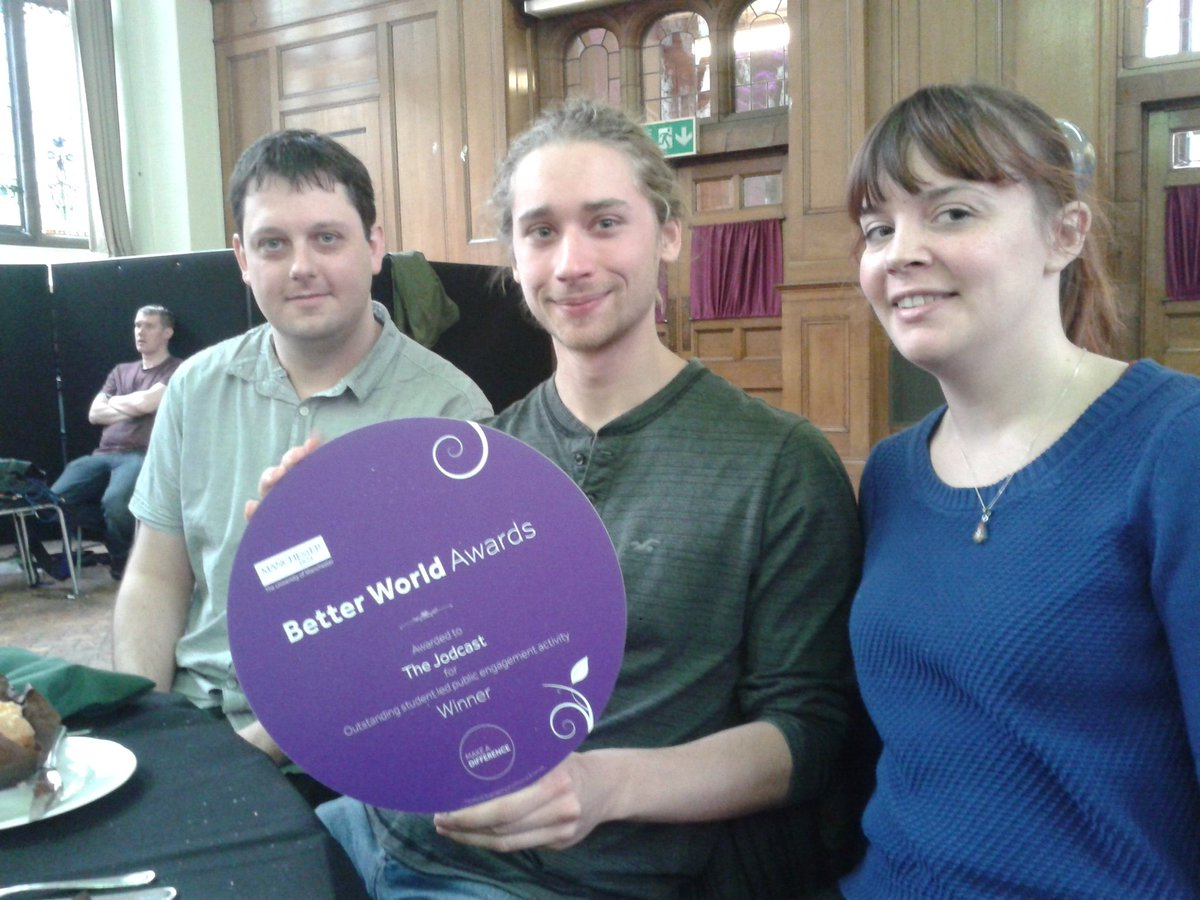 The @jodcast team just won the @OfficialUoM faculty award for best student-led engagement activity! https://t.co/NgrWDM6eCU