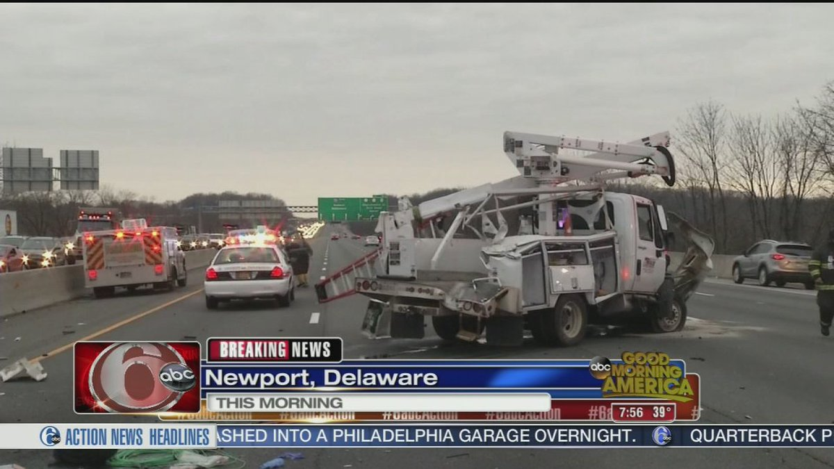 Driver critical after utility truck rollover crash on I-95 in Delaware 6abc - |