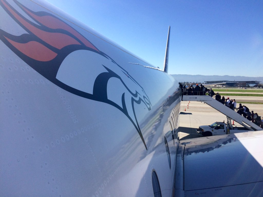 The World Champion Denver Broncos loading up for the return flight to the Mile High city. 9News WeAreBRONCOS
