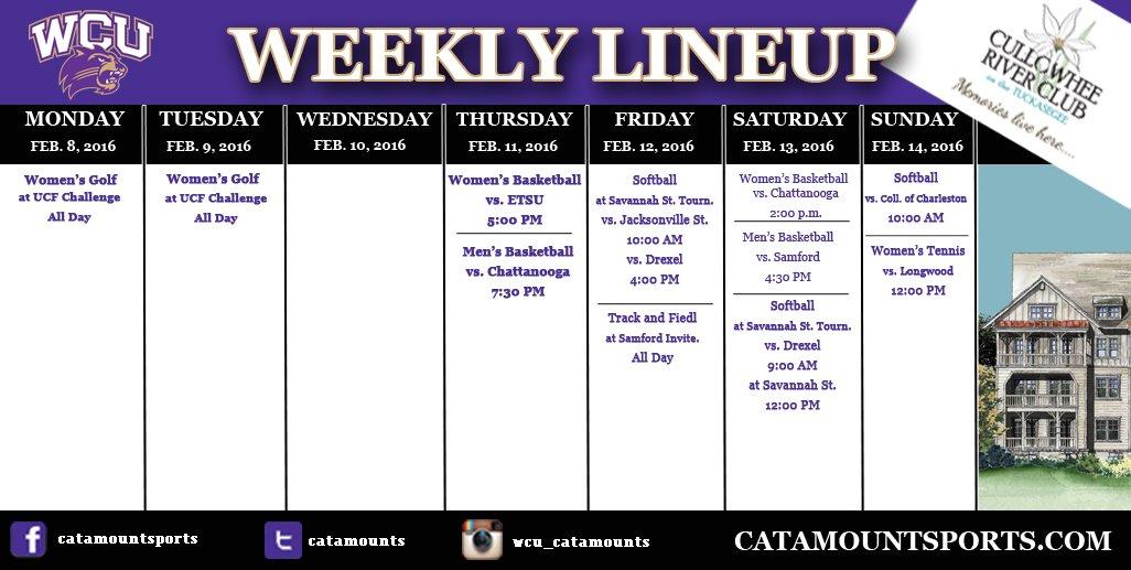 WCU athletic schedule (thru 2-14-16)