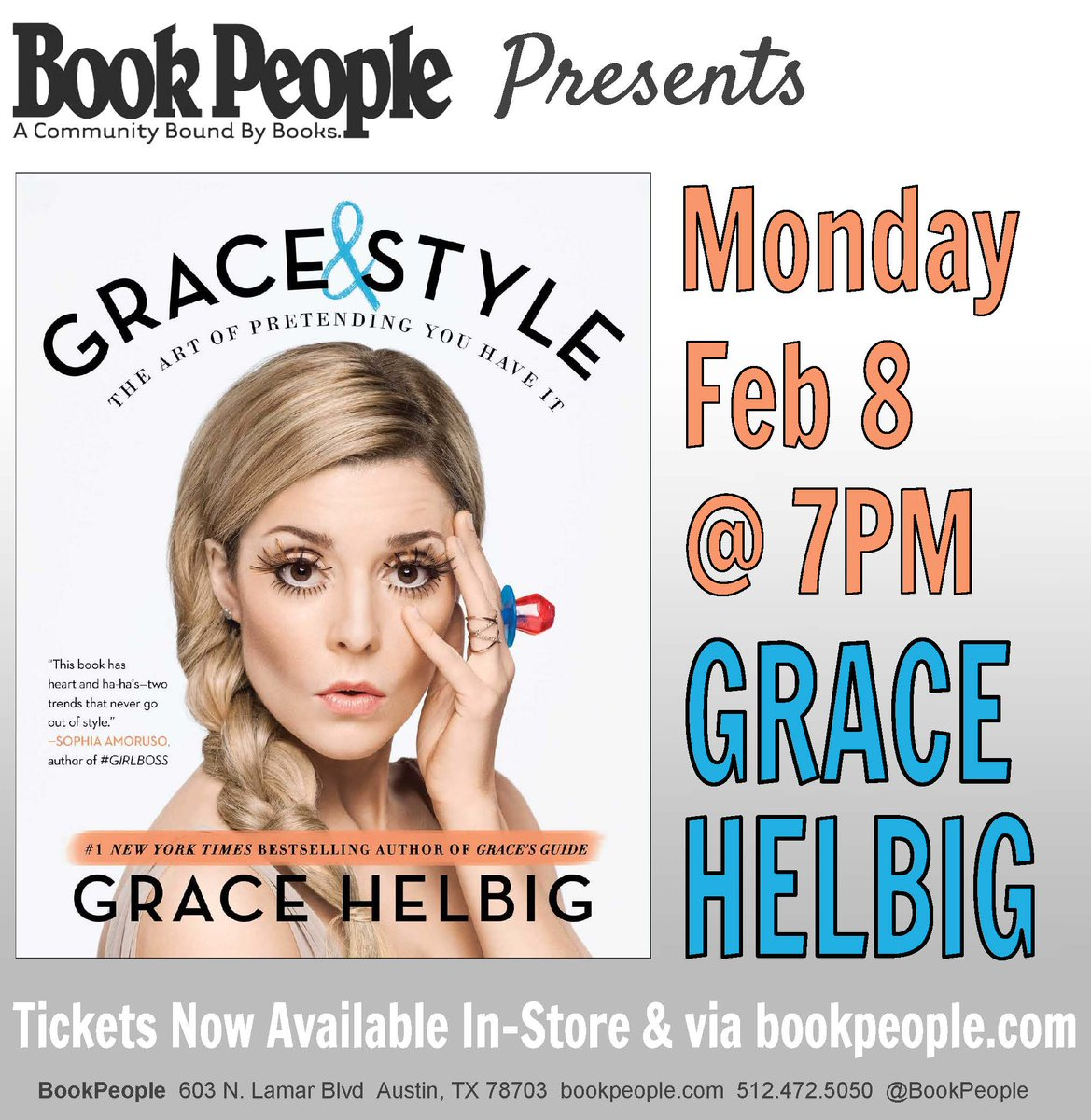 TONIGHT 7p: @gracehelbig signs #GraceAndStyle! Tickets are available: https://t.co/ghB4wMd50P https://t.co/4ykCz5heQC