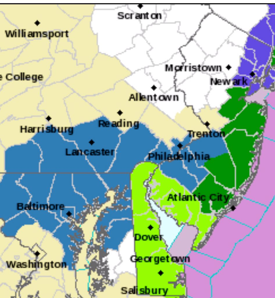 Winter Storm Watch late tonight-Tues: including SNJ. 4+ inches of snow. Most on Tuesday. More details @FOX29philly