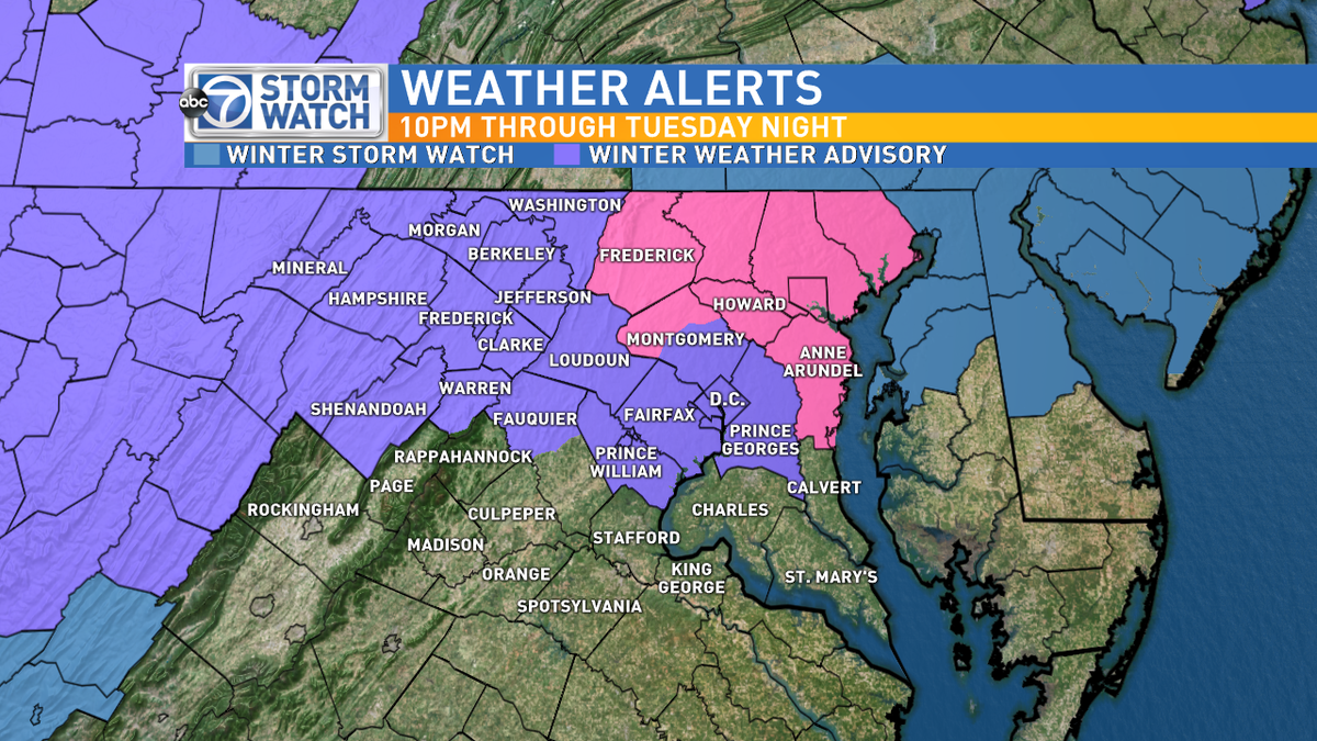 Winter Wx Advisory DC Metro & Winter Storm Warning NE of town starting 10P tonight. 1-3