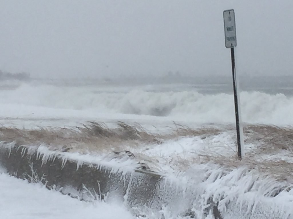 Coastline getting pounded here in Sandwich. Tide heading out, which should help with flood concerns 7News