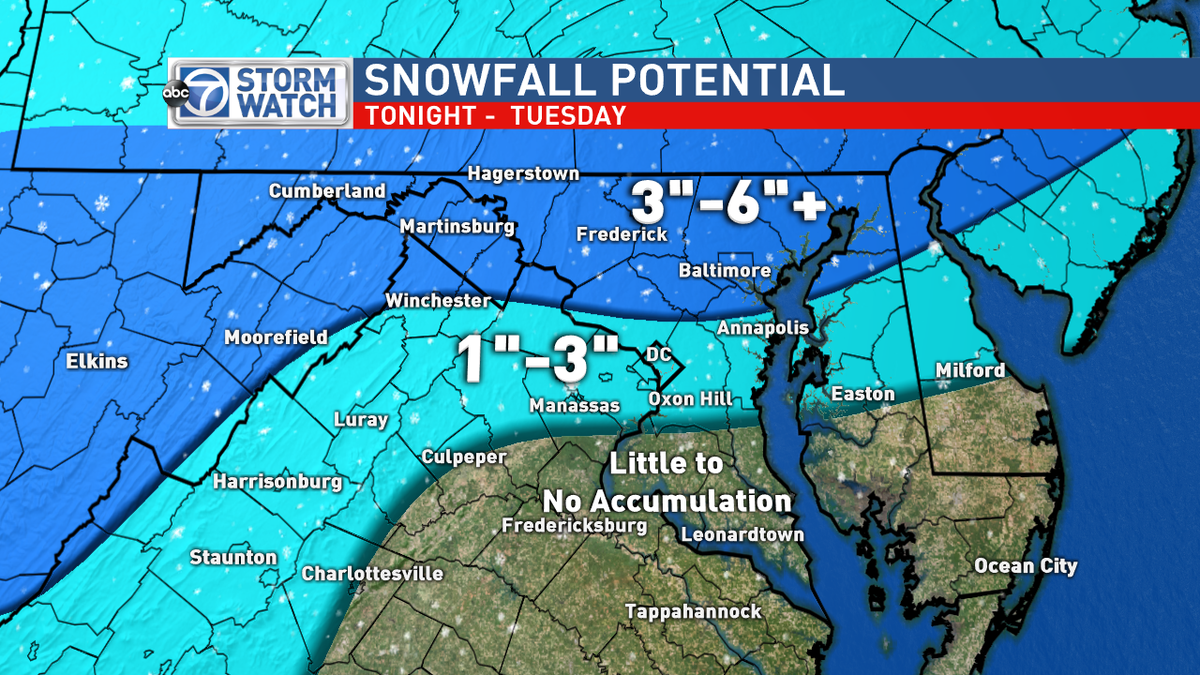 The latest snowfall forecast. It will start as rain showers at first. Changing to snow overnight through Tuesday