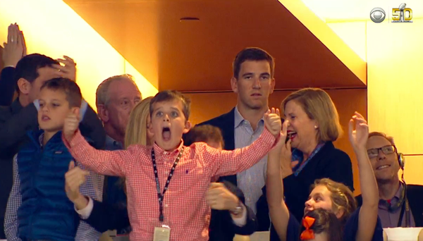 "TRENDING: Eli Manning's ""excited face"" - SB50"