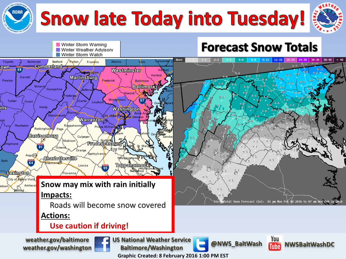 Winter weather headlines issued. Snow likely late tonight through Tuesday. DCwx MDwx VAwx WVwx
