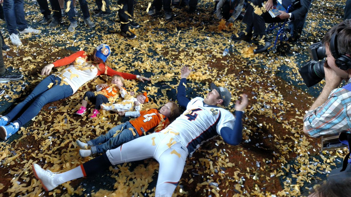 Britton Colquitt soaked it all in last night with his family. Broncos SuperBowlChamps @Noah_Skinner