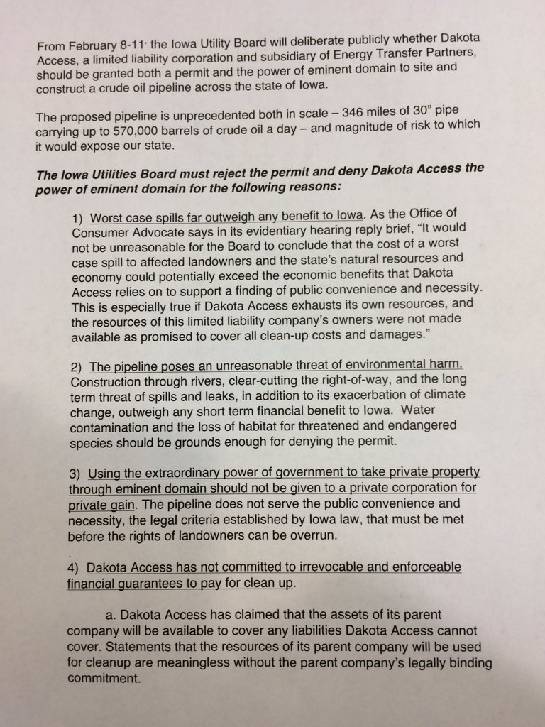 .@iowacci releases list of demands prior to Iowa utilities board meeting to decide fate of Bakken pipeline https://t.co/RQowgYED28