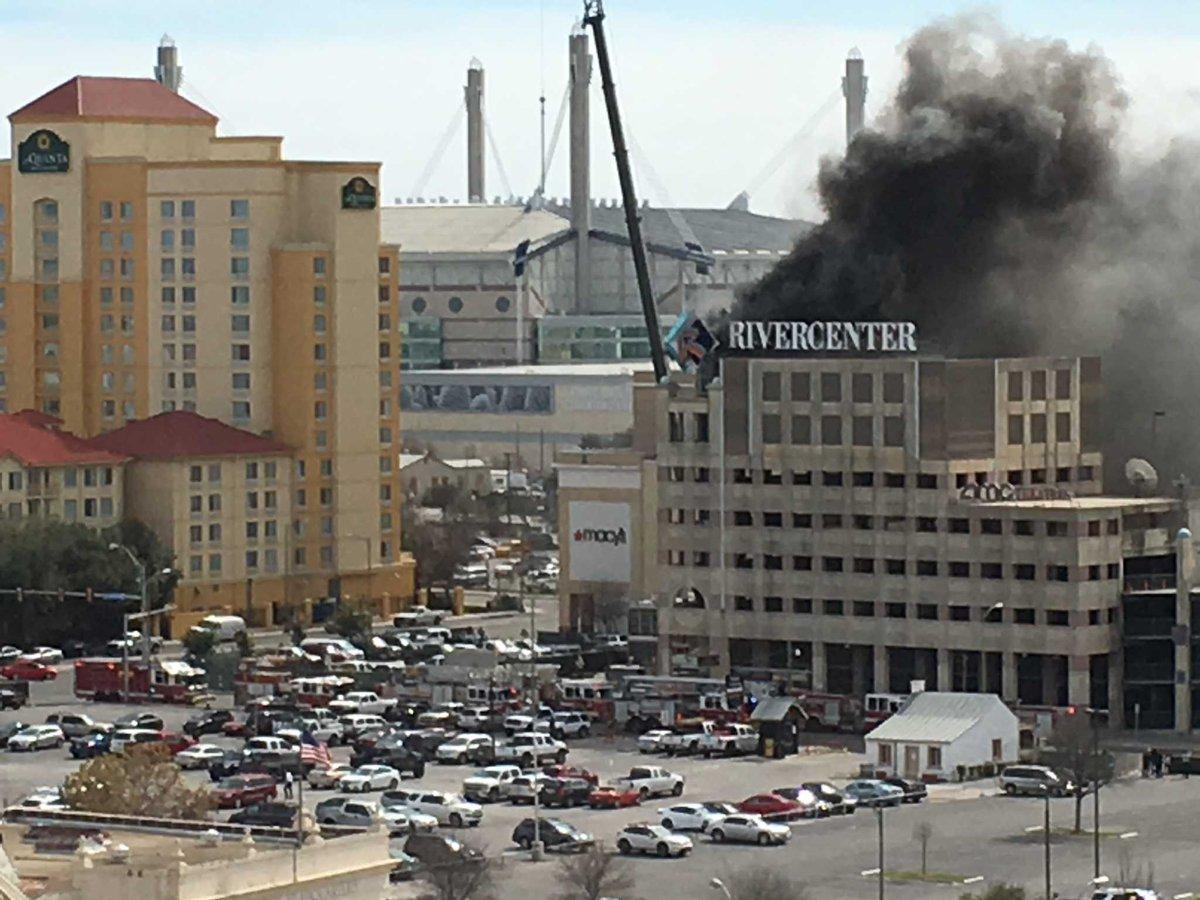 SanAntonio fire crews respond to fire at parking garage of Rivercentersatx