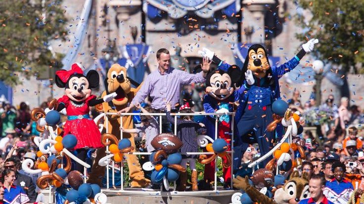 Peyton Manning celebrated his SB50 victory at @Disneyland today