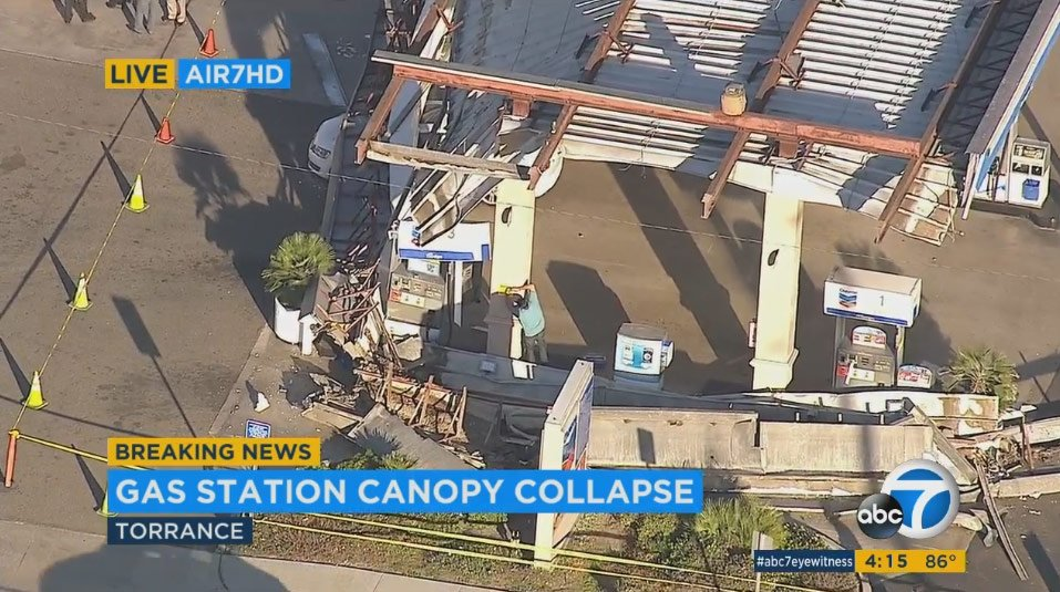 THIS JUST IN: Canopy collapses at gas station in Torrance at corner of Artesia and Prairie; no reports of injury