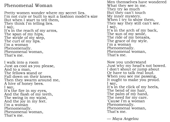Notre Dame Of Md On Twitter Her Poem Phenomenal Woman Teaches