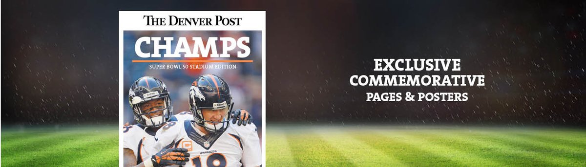 CHAMPIONS! Score a piece of history here: Free shipping on @denverpost @superbowl50 pages.