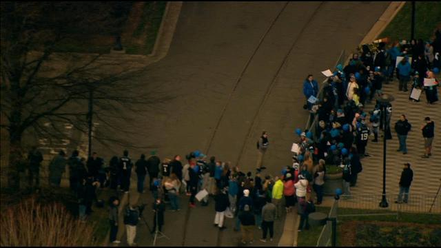 CHOPPER 9: Fans wait for the Panthers return at BofA Stadium. WATCH LIVE