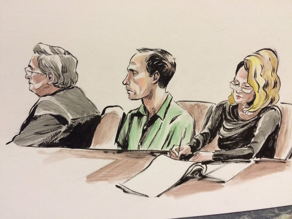 Sketch rendering of former Park Tudor coach Kyle Cox in fed court