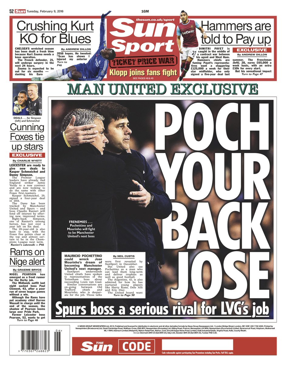 What about Jose Mourinho? Man United begin efforts to sign Spurs Mauricio Pochettino [Sun]