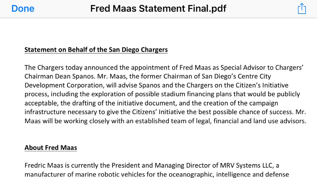 Chargers statement