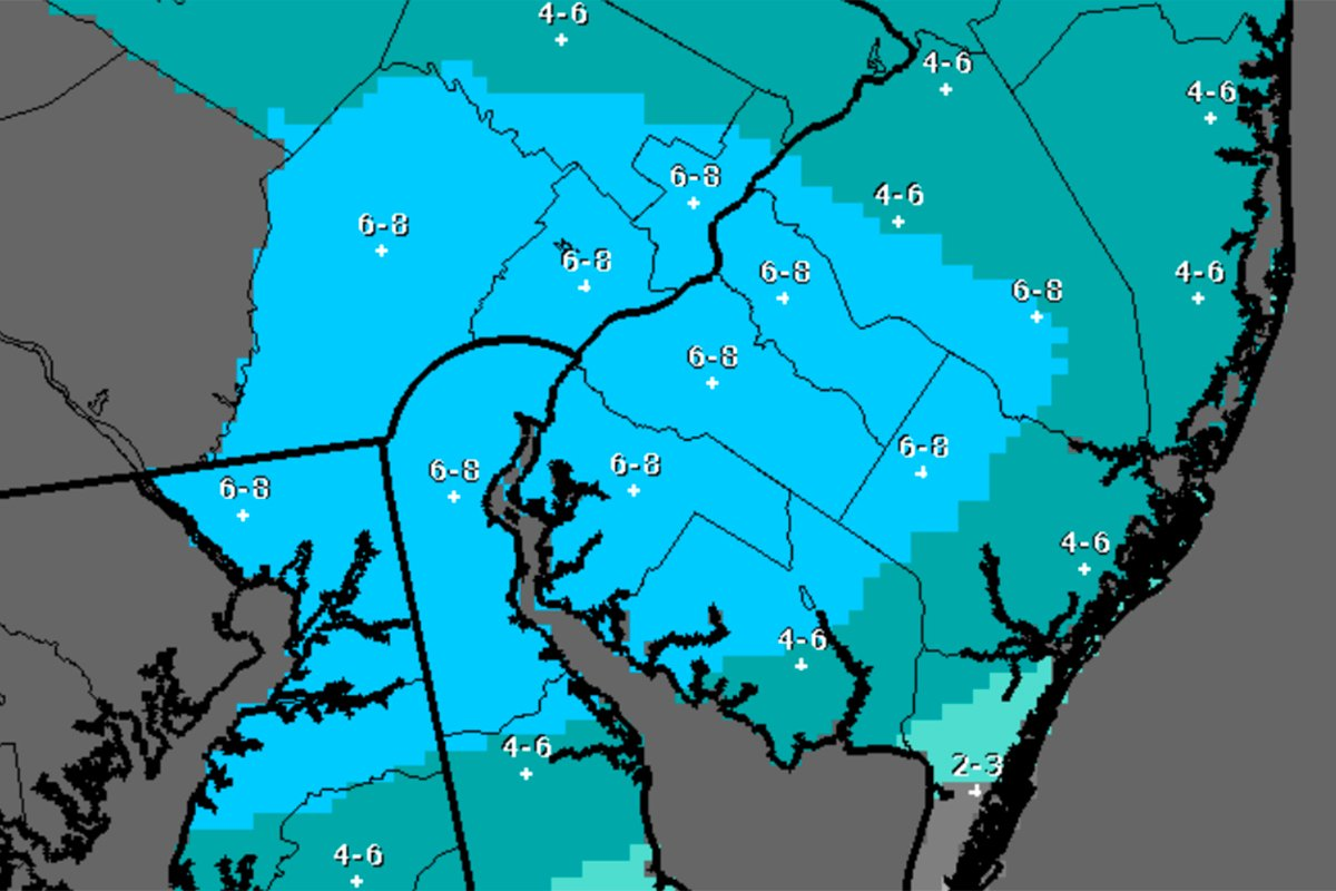 Up to 8 inches of snow possible with approaching storm, National Weather Service says.