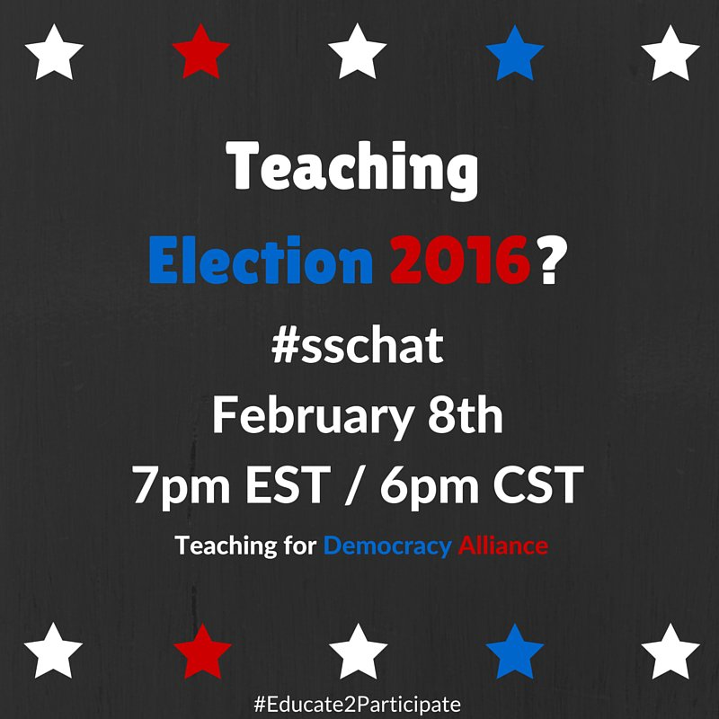 Join #sschat as we discuss Bringing Elections to the Classroom on Monday February 8th 7-8 PM EST with @icivics https://t.co/Wt2SLM9Jw9