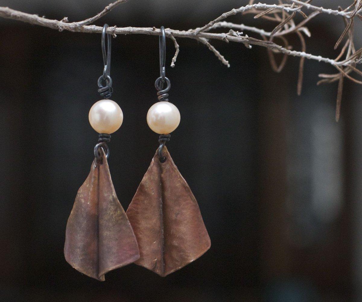 Copper earrings Boho earrings Rustic earrings Gypsy earrings Dangle earrings Tribal jewelry Pearl jewelry Pearl earrings Tribal earrings