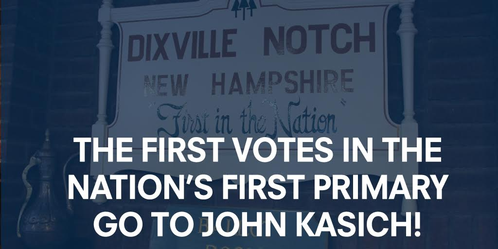 Early momentum as @JohnKasich wins GOP vote in Dixville Notch! Let's keep it going, New Hampshire. https://t.co/CtXnCn9c4Z