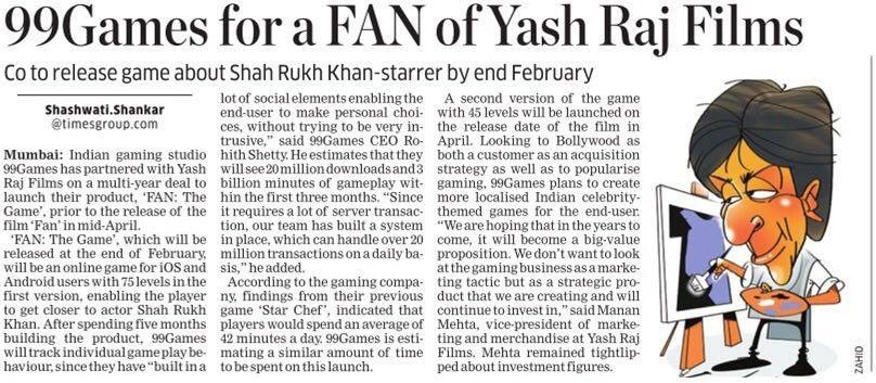 99Games along with @yrf to release game @FanTheGame about SRK-starrer movie @FanTheFilm https://t.co/54Yshq6ZG0 https://t.co/qryLbvg91B