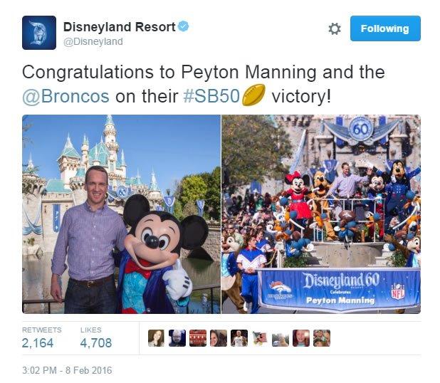 Broncos' Peyton Manning went to Disneyland to celebrate SuperBowl50 win! SB50 coverage