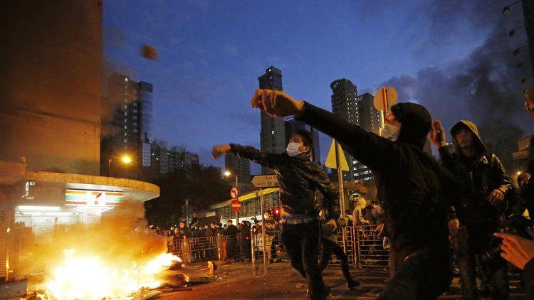 Hong Kong's Lunar New Year celebration turns into clashes between police and protesters