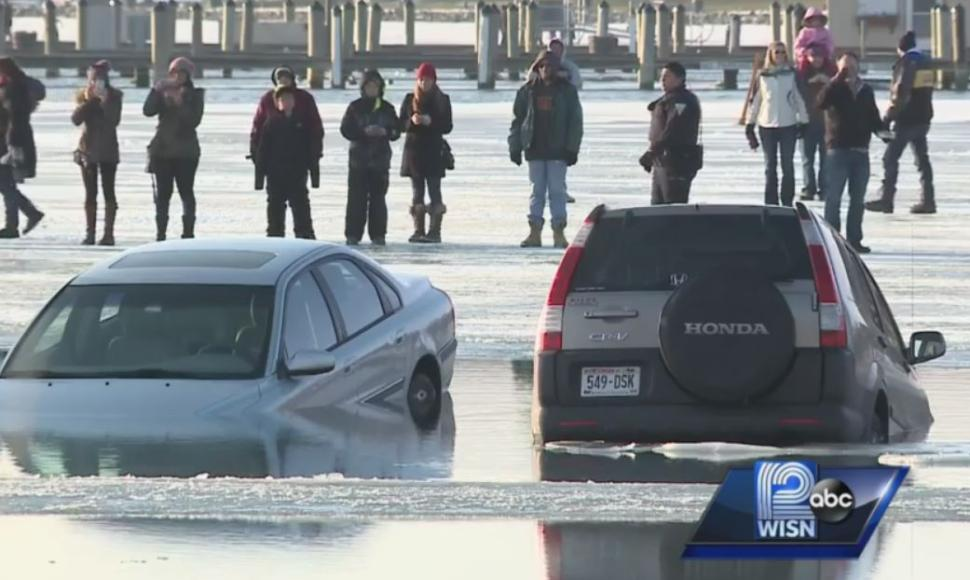 Parking your car on a frozen Lake Geneva is never a good idea.