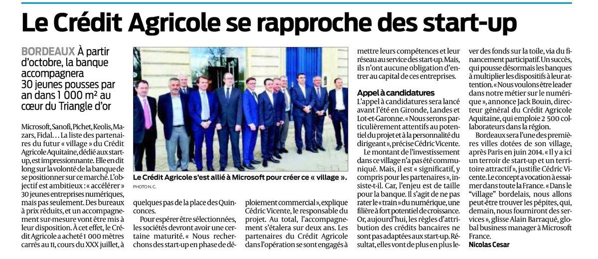 Félicitations à @CreditAgricole, partenaire de @Bdx_Technowest, qui crée @VillageAquitain pour #startup à #Bordeaux
