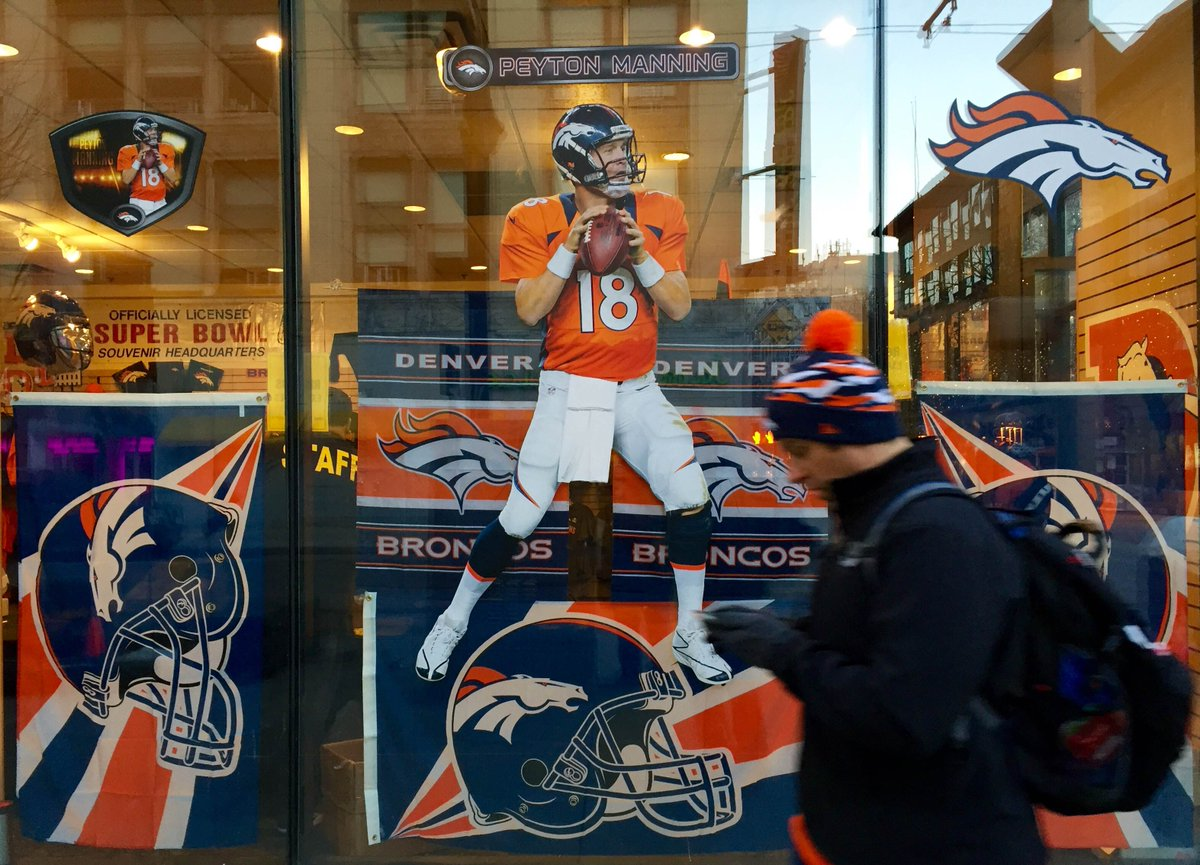Downtown Denver is already peparing the window dressings for today's SB50 parade