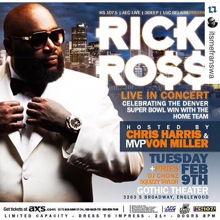 I'm flying to Denver to perform for our #SUPERBOWL50 Champs @Broncos  Tonight like only #ROZAY can! @Millerlite40