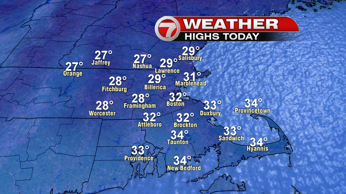 Cool today, upper 20s and lower 30s under a mostly cloudy sky. 7news