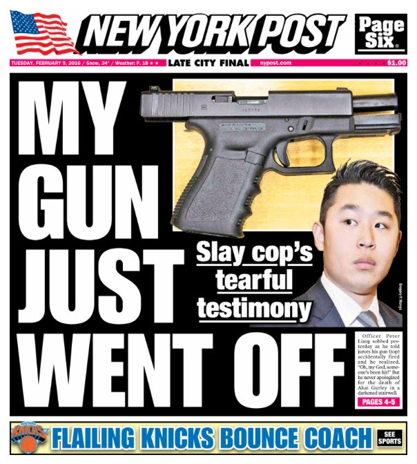 Today's cover: The rookie cop still hasn't said he was sorry for the innocent man's death
