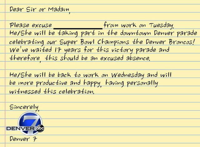 Here's your excuse note to get out of work for the @Broncos Super Bowl victory parade -