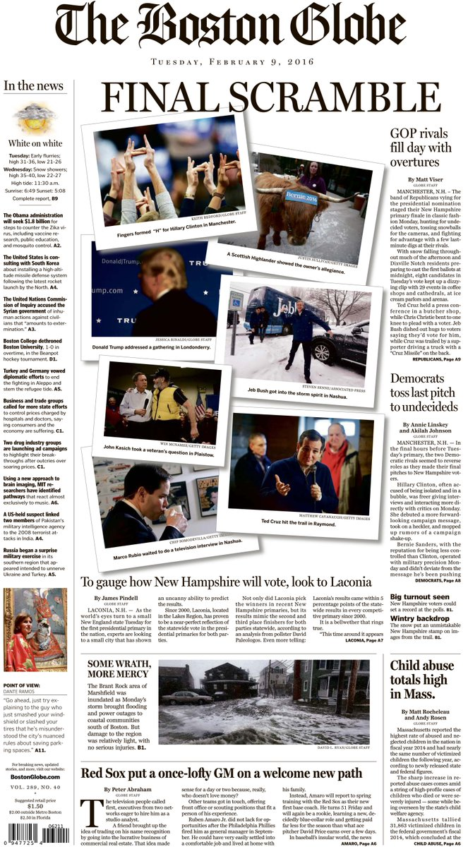 In today's Globe: Ruben Amaro's new baseball life, Mass.' high rate of abused children, more