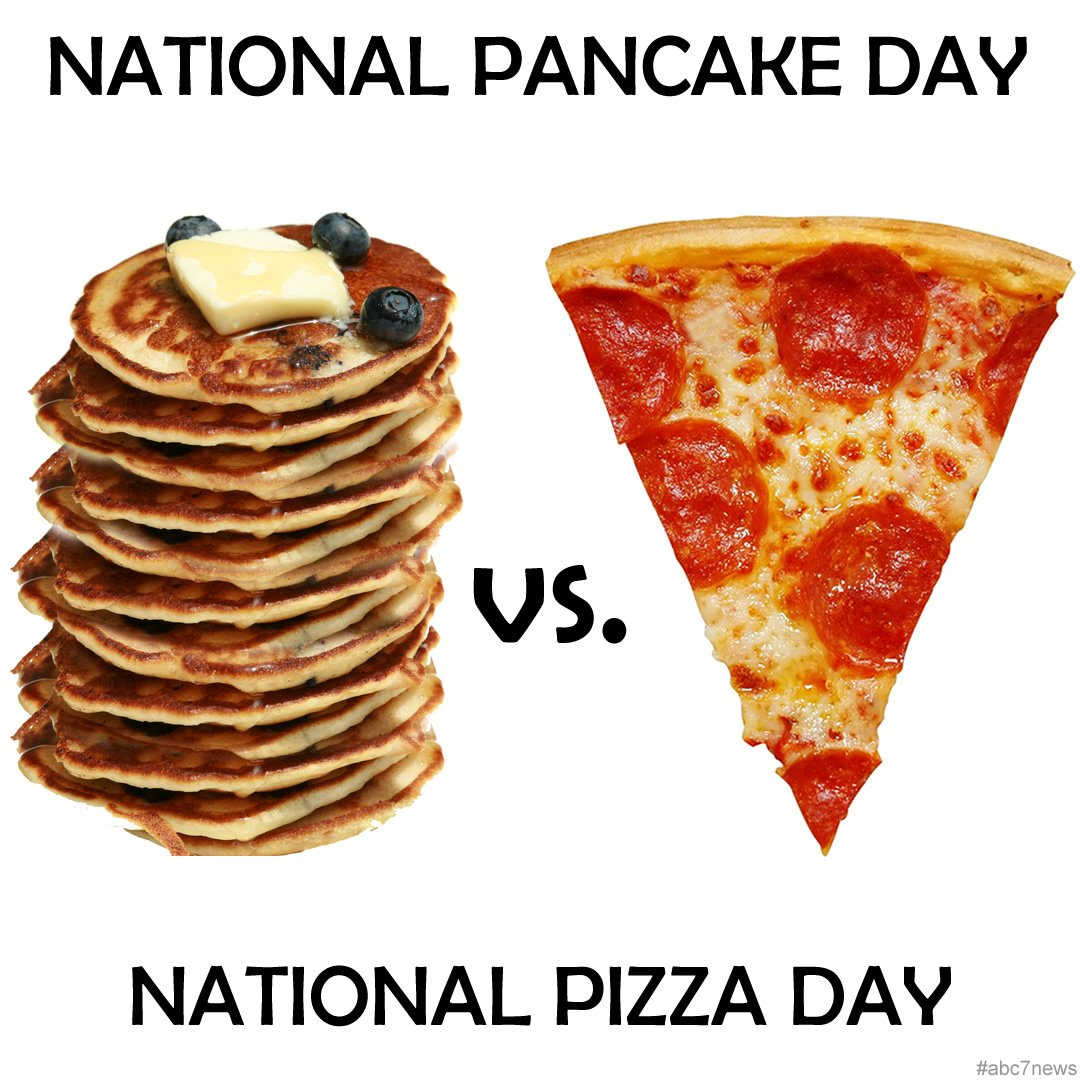 Happy NationalPancakeDay and NationalPizzaDay! We're torn -- which to eat first?